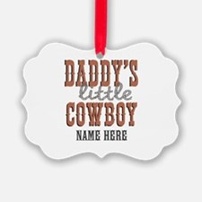 Add Name Daddy's Little Cowboy Ornament