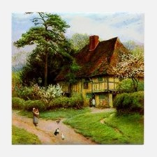 Old English Country Cottage Tile Coaster