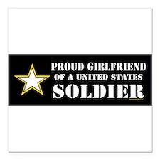 "Cute Army girlfriend Square Car Magnet 3"" x 3"""