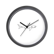 Great White Shark (line art) Wall Clock