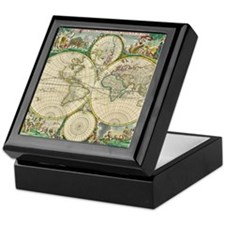 World Map 1670 Keepsake Box
