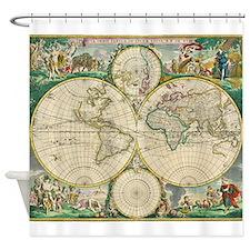 World Map 1670 Shower Curtain