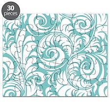 Aqua & White Swirls Puzzle