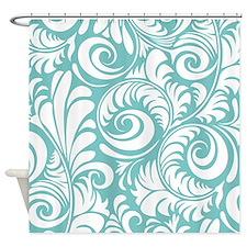 Aqua & White Swirls Shower Curtain
