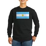 Argentina Blank Flag Long Sleeve Black T-Shirt