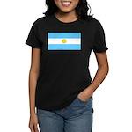 Argentina Blank Flag Women's Black T-Shirt