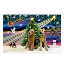 Xmas Magic-Airedale Pair Postcards (Package of 8)
