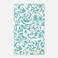 Aqua Sky & White Swirls #2 3'x5' Area Rug