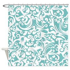 Aqua Sky & White Swirls #2 Shower Curtain
