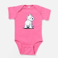 KiniArt Fluffybutt Westie Baby Bodysuit