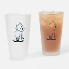 KiniArt Fluffybutt Westie Drinking Glass