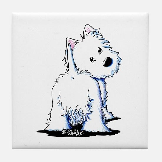 KiniArt Fluffybutt Westie Tile Coaster