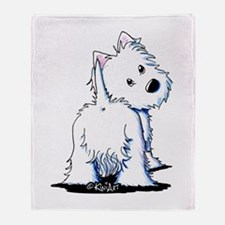 KiniArt Fluffybutt Westie Throw Blanket