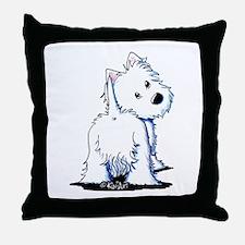 KiniArt Fluffybutt Westie Throw Pillow