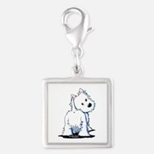 KiniArt Fluffybutt Westie Silver Square Charm