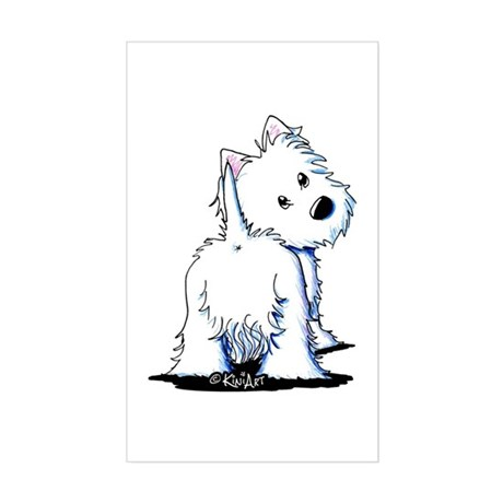 KiniArt Fluffybutt Westie Sticker (Rectangle)