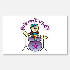 Light Girl Drummer Rectangle Decal