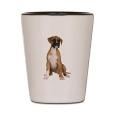 Boxer Puppy With Tilted Head Shot Glass