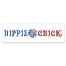 Hippie Chick Bumper Car Sticker