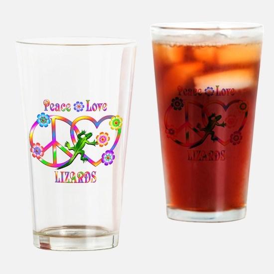 Peace Love Lizards Drinking Glass