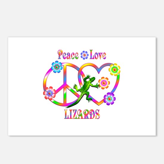 Peace Love Lizards Postcards (Package of 8)