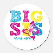 Butterfly Big Sis Round Car Magnet