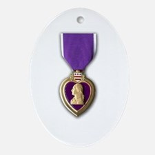 Purple Heart Oval Ornament