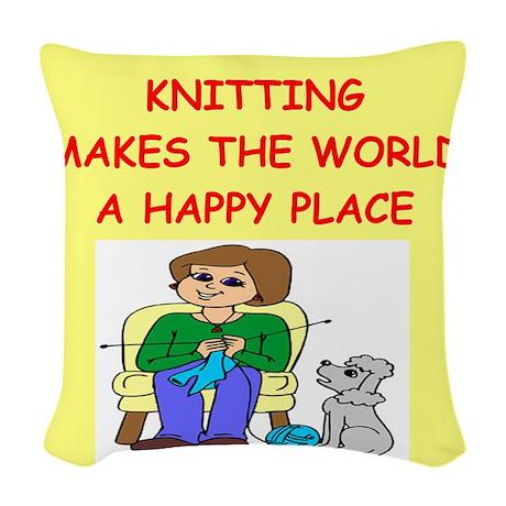 KNITTING.png Woven Throw Pillow