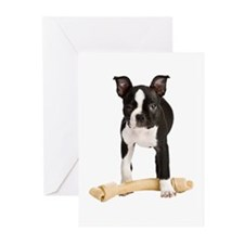 Boston Terrier Standing Guard Greeting Cards (Pk o