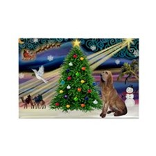 Xmas Magic & Bloodhound Rectangle Magnet