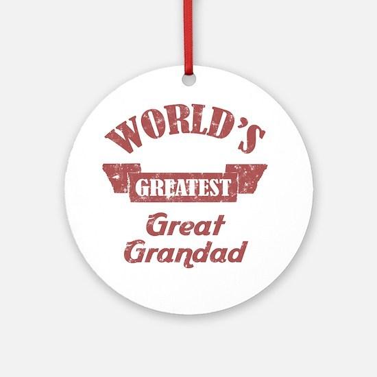 World's Greatest Great Grandad Ornament (Round)