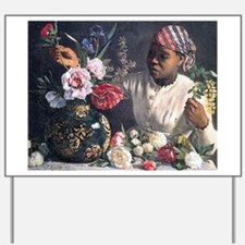 African Women with Peonie Yard Sign