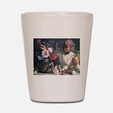 African Women with Peonie Shot Glass