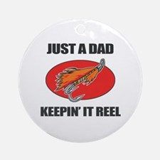 Dad Fishing Humor Ornament (Round)