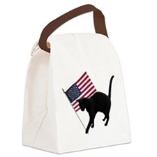 Cat American Flag Canvas Lunch Bag