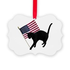 Cat American Flag Ornament