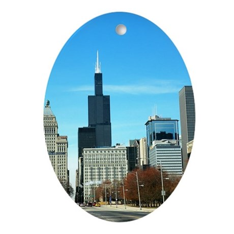 Chicago View of Sear's Tower Oval Ornament