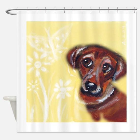 Cute darling dachshund flowers Shower Curtain
