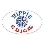 Hippie Chick Oval Sticker