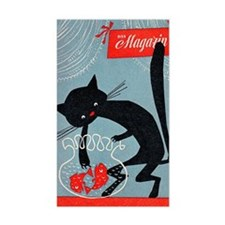 Cat, Fish Bowl, Vintage Poster Decal