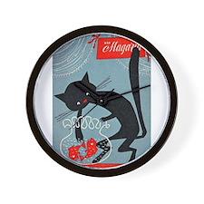 Cat, Fish Bowl, Vintage Poster Wall Clock