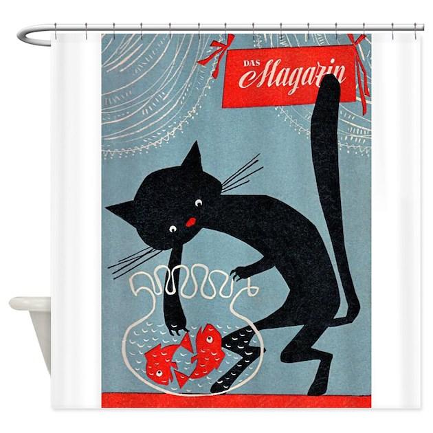 Cat Fish Bowl Vintage Poster Shower Curtain By Vintagevivian