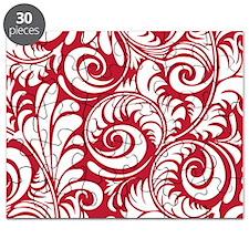True Red & White Swirls Puzzle