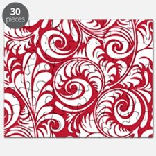 True Red & White Swirls Puzzle
