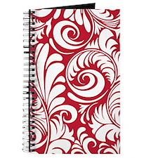 True Red & White Swirls Journal