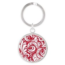 True Red & White Swirls Round Keychain