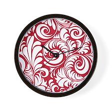 True Red & White Swirls Wall Clock