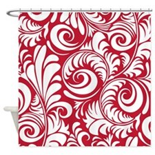 True Red & White Swirls Shower Curtain