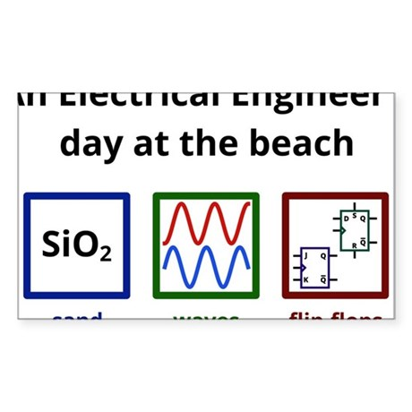 An Electrical Engineer's day at the beach Sticker