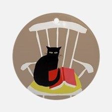 Cat on a Chair with a Book, Vintage Poster Ornamen